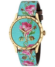 Gucci Women's Swiss G-Timeless Blue Flower Print Leather Strap Watch 38mm