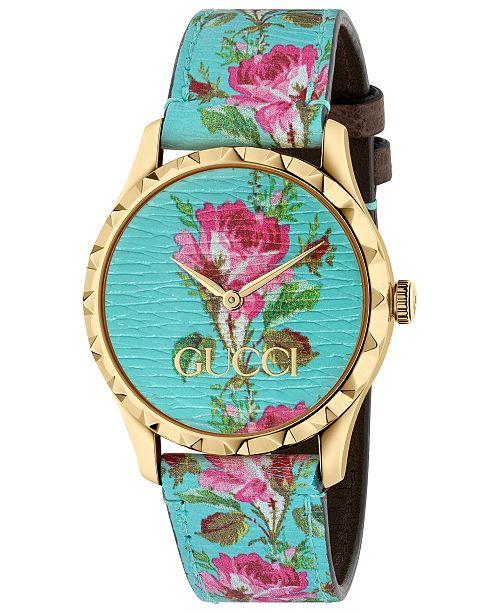 794a1dfd26d ... Gucci Women s Swiss G-Timeless Blue Flower Print Leather Strap Watch ...