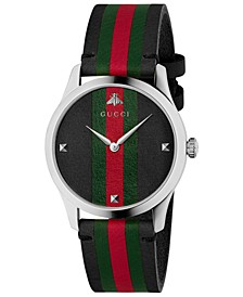 Men's Swiss G-Timeless Black Leather with Green-Red-Green Web Strap Watch 38mm