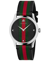 96ffc98b819 Gucci Men s Swiss G-Timeless Black Leather with Green-Red-Green Web Strap