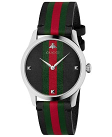 42a6813d896 Gucci Men s Swiss G-Timeless Black Leather with Green-Red-Green Web Strap