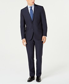 Kenneth Cole Reaction Men's Techni-Cole Slim-Fit Stretch Blue Micro-Dot Suit