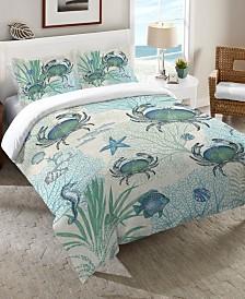 Laural Home Blue Crab King Comforter