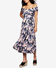A Pea In The Pod Maternity Off-The-Shoulder Midi Dress