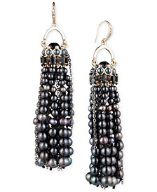 Carolee Gold-Tone Pavé, Stone & Cultured Freshwater Pearl (3-6mm) Pendulum Tassel Earrings