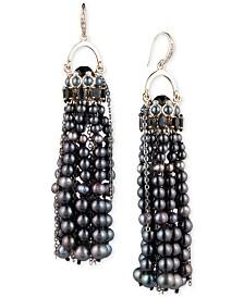 Carolee Gold-Tone Pavé, Stone & Cultured Freshwater Pearl (3-6mm) Pendulum Tassel Earrings