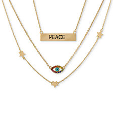 "RACHEL Rachel Roy Gold-Tone Crystal Accented Layered Statement Necklace, 15-1/2"" + 2"" extender"