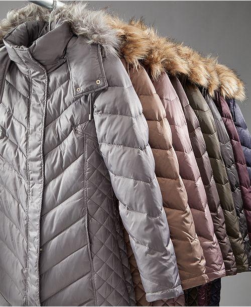 18acc3911 Hooded Faux-Fur-Trim Down Chevron Puffer Coat