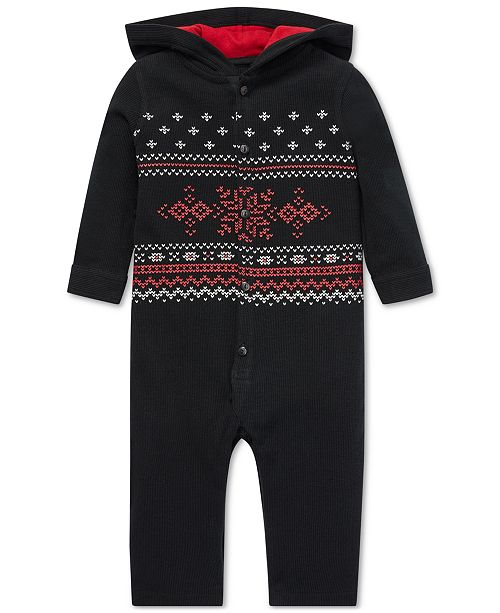 7773c3499e Polo Ralph Lauren Baby Boys Graphic Waffle-Knit Cotton Coverall ...