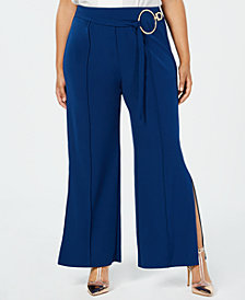 NY Collection Plus Size Split-Leg Belted Pants