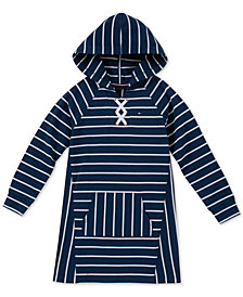 Tommy Hilfiger Big Girls Lace-Up Hooded Sweatshirt Dress
