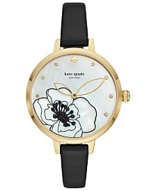 kate spade new york Women's Metro Black Leather Strap Watch 34mm