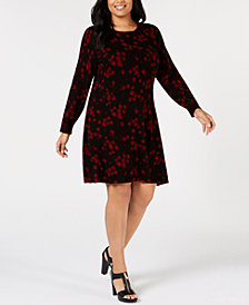 MICHAEL Michael Kors Plus Size Floral-Print Sweater Dress