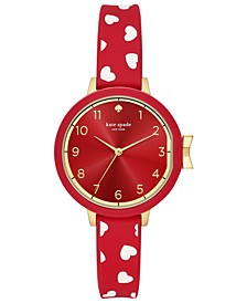 Women's Park Row Red Silicone Strap Watch 34mm