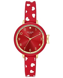 kate spade new york Women's Park Row Red Silicone Strap Watch 34mm