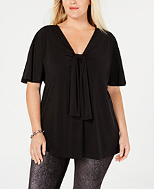 MICHAEL Michael Kors Plus Size Draped Flutter-Sleeve Top