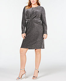 Michael Kors Plus Size Twist-Waist Metallic Dress