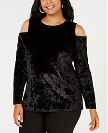 MICHAEL Michael Kors Plus Size Crushed Velvet Cold-Shoulder Top
