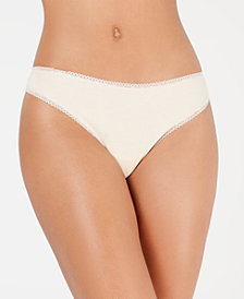 Charter Club Women's Lace Trim Cotton Thong, Created for Macy's