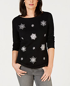 Karen Scott Snowflake-Embellished Holiday Top, Created for Macy's