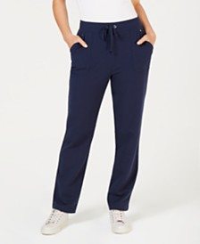 Karen Scott Drawstring Straight-Leg Pants, Created for Macy's