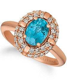 Blue Zircon (1 1/4 ct.t.w.) and Nude Diamonds™ (5/8 ct.t.w.) Ring set in 14k rose gold