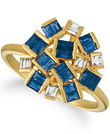 Baguette Frenzy™ Blueberry Sapphires™ (1 1/5 cttw) and Nude Diamonds™ (1/8 cttw) Ring set in 14k gold
