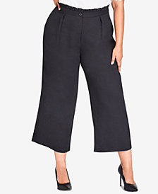 City Chic Trendy Plus Size Frilled Wide-Leg Pants