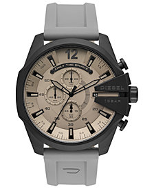 Diesel Men's Chronograph Mega Chief Gray Silicone Strap Watch 51mm