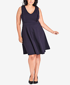 City Chic Plus Size Ruffled Fit & Flare Dress