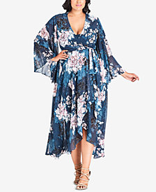 City Chic Plus Size Jade Blossom High-Low Dress