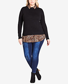 City Chic Trendy Plus Size Layered-Look Animal Collar Top