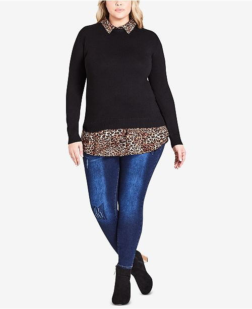 City Chic Trendy Plus Size Layered Look Animal Collar Top Sweaters