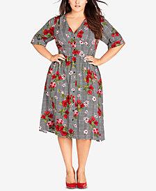 City Chic Trendy Plus Size Sloane Printed Dress