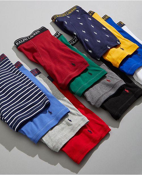 68226410b130 ... Polo Ralph Lauren Men's Classic-Fit Knit Cotton Boxer Briefs, 3+1 Bonus  ...