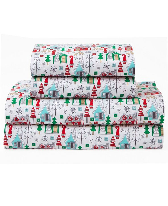 Elite Home Microfiber Holiday Print Twin Sheet Set