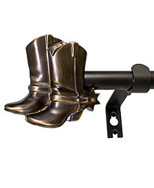 Montevilla 5/8-Inch Cowboy Boots Telescoping Curtain Rod Set, 86 to 128-Inch, Vintage Bronze