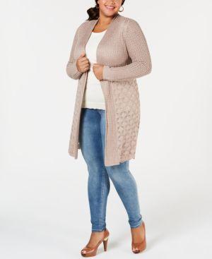 BELLDINI Plus Size Open-Front Pointelle Cardigan in Heather Mocha