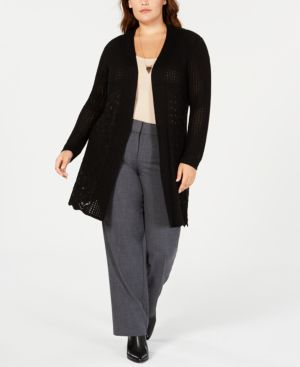 BELLDINI Plus Size Open-Front Pointelle Cardigan in Black