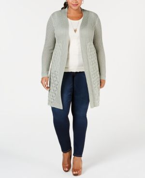 BELLDINI Plus Size Open-Front Pointelle Cardigan in Sage