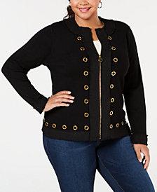 Belldini Plus Size Tweed-Trim Cardigan