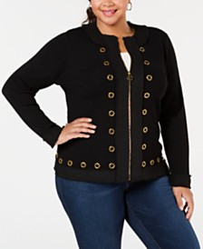 Belldini Plus Size Tweed-Trim Cardigan