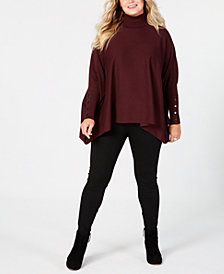 Alfani Plus Size Turtleneck Poncho Sweater, Created for Macy's