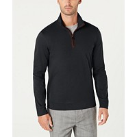 Deals on Tasso Elba Mens Piped 1/4-Zip Sweater