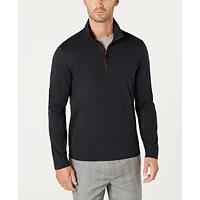 Deals on Tasso Elba Mens Piped 1/4-Zip Sweater