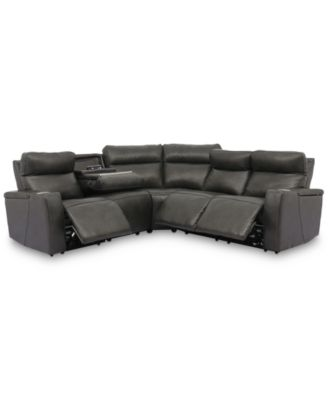 Oaklyn 5-Pc. Leather Sectional with 3 Power Motion Recliners & 1 Drop Down Table