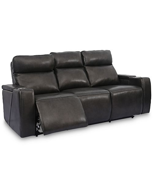 Oaklyn 84 Leather Sofa With Power Recliners, Power Headrests, USB Power  Outlet and Drop Down Table