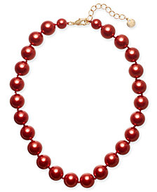 "Charter Club Gold-Tone Red Imitation Pearl Collar Necklace, 16"" + 2"" extender, Created for Macy's"
