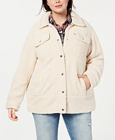 Trendy Plus Size Long Line Sherpa Trucker Jacket