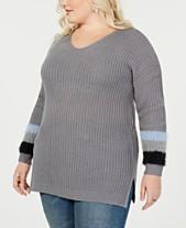 c0cfc2867ad1b Planet Gold Trendy Plus Size Stripe-Detail Sweater
